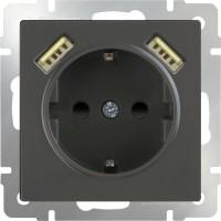 Розетка с заземлением, шторками и USBx2 (серо-коричневая) /WL07-SKGS-USBx2-IP20
