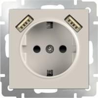 Розетка с заземлением, шторками и USBx2 (слоновая кость)/WL03-SKGS-USBx2-IP20