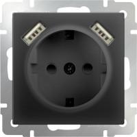 Розетка с заземлением, шторками и USBx2 (черный матовый) /WL08-SKGS-USBx2-IP20