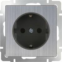 Розетка с заземлением (глянцевый никель) /WL02-SKG-01-IP20