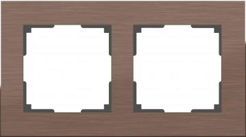 Рамка на 2 поста (коричневый алюминий)  ALUMINIUM/ WL11