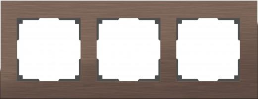 Рамка на 3 поста (коричневый алюминий)  ALUMINIUM/ WL11