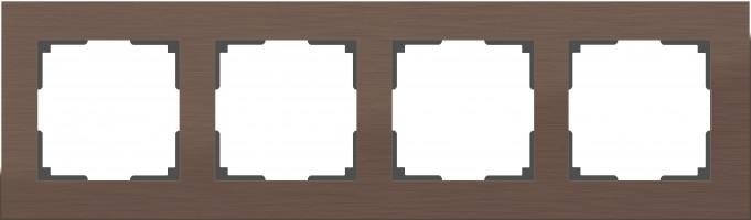 Рамка на 4 поста (коричневый алюминий)  ALUMINIUM/ WL11