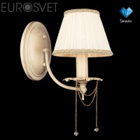 Настенный светильник 3645/1 белый с золотом/прозрачный хрусталь
