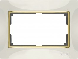 Рамка для 2 розетки (слон кость/золото) SNABB/WL03