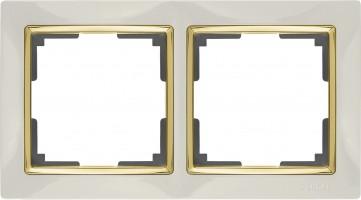 Рамка на 2 поста (слон кость/золото) SNABB/WL03