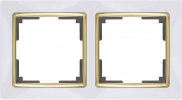 Рамка на 2 поста (белый/золото) SNABB/WL03