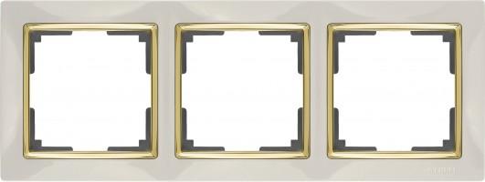 Рамка на 3 поста (слон кость/золото) SNABB/WL03