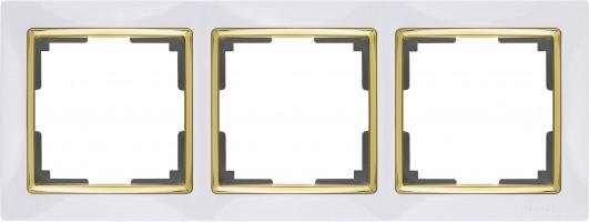 Рамка на 3 поста (белый/золото) SNABB/WL03