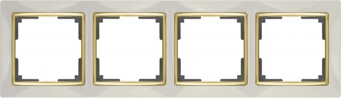 Рамка на 4 поста (слон кость/золото) SNABB/WL03