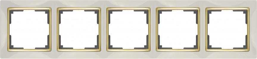 Рамка на 5 постов (слон кость/золото) SNABB/WL03