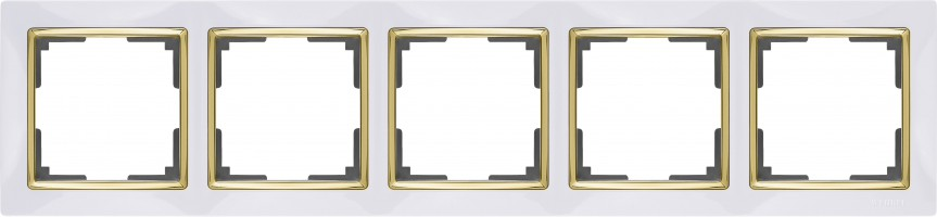 Рамка на 5 постов (белый/золото) SNABB/WL03