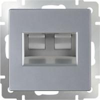 Розетка двойная Интернет RJ-45 (серебро) /WL06-RJ-45+ RJ-45