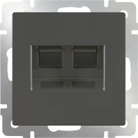 Розетка двойная Интернет RJ-45 (серо-коричневый) /WL07-RJ-45+ RJ-45