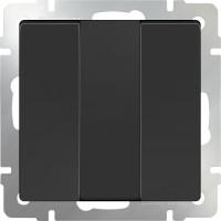 Выключатель 3клавишный (черный-матовый) /WL08-SW-3G