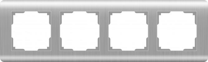 Рамка на 4 поста (серебряный)  STREAM/ WL12