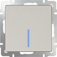Выключатель 1клавишный проходной с подсветкой (слоновая кость) /WL03-SW-1G-2W-LED