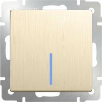 Выключатель 1клавишный проходной с подсветкой (шампань рифленый) /WL10-SW-1G-2W-LED