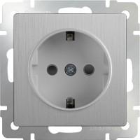Розетка с заземлением и шторками (серебряный рифленый) /WL09-SKGS-01-IP44