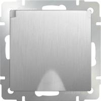 Розетка влагозащ. с заземлением, крышкой и шторками (серебряный рифленый) /WL09-SKGSС-01-IP44