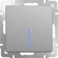 Выключатель 1клавишный проходной с подсветкой (серебряный рифленый) /WL09-SW-1G-2W-LED