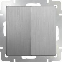 Выключатель 2клавишный проходной (серебряный рифленый) /WL09-SW-2G-2W