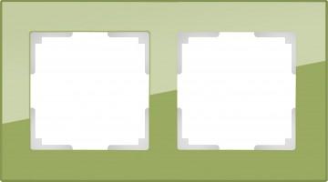 Рамка на 2 поста (фисташковый, стекло) FAVORIT/ WL01