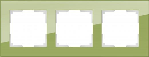 Рамка на 3 поста (фисташковый, стекло) FAVORIT/ WL01