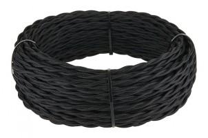 Ретро кабель витой (!) 3х1,5  (черный)