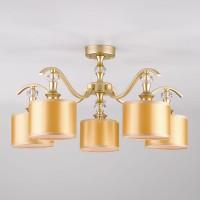 Потолочная люстра с золотистыми абажурами 60070/5 перламутровое золото