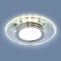 Встраиваемый потолочный светильник со светодиодной подсветкой 2228 MR16 SL зеркальный/серебро